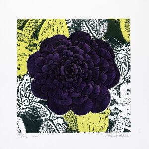 Konstnär Catharina Warme Hellström. Konstverk benämning CWH6 'Linn', blandteknik, pappersmått: 38,5×38,5 cm, bildmått: 29×29 cm, upplaga 295. Våga Se - Konst
