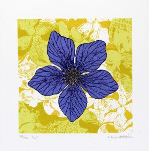 Konstnär Catharina Warme Hellström. Konstverk benämning CWH1 'Liv', blandteknik, pappersmått: 38,5x38,5 cm, bildmått: 29×29 cm, upplaga 295. Våga Se - Konst