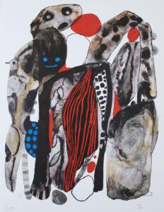 Emma Larsson konstnär - Konstverk benämning EL1 'Banana moon is shining', litografi, 31 x 43 cm, upplaga 250 - Våga Se Konst