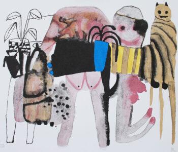 """Emma Larsson konstnär. Benämning EL4 """"I´m riding with Lady Luck"""", litografi, 41 x 31,6 cm, upplaga 250- Våga Se Konst"""