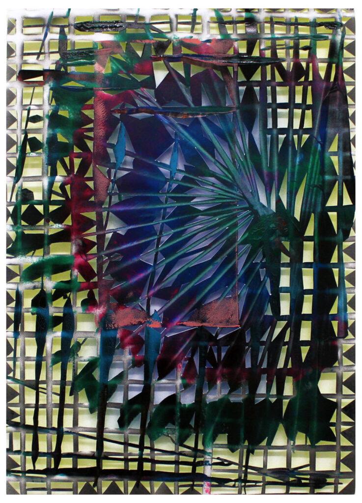 Högvinst 2020 i Våga Se - Konst konstlotteri. Gabriele Basch konstverk 'Atrium', sprayfärg på papper, 42x29,5 cm
