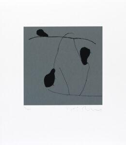 Konstnär Håkan Berg. Konstverk benämning HB1 'Utan titel 1', serigrafi, pappersmått: 45x39cm, bildmått: 24x24 cm, upplaga 295. Våga Se - Konst