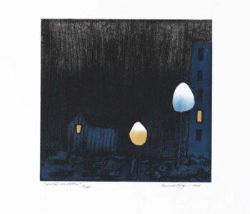 Konstnär Helena Elfgren. Konstverk benämning HE1 'Samtal om natten', collografi, pappersmått: ca 35x33 cm, bildmått: 21x22 cm, upplaga 200. Våga Se - Konst