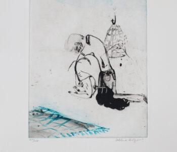 Konstnär Helene Billgren. Konstverk benämning HBI2 'Akrobat', etsning, 39x53 cm, upplaga 250. Våga Se - Konst