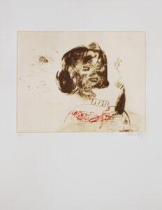Konstnär Helene Billgren. Konstverk benämning HBI1 'Second Hand', etsning, 39x53 cm, upplaga 250. Våga Se - Konst