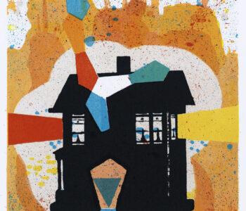 Konstnär Jan Wessel. Konstverk benämning JW4 'My own lighthouse', stenlitografi, 25,5x25,5 cm, upplaga 295. Våga Se - Konst