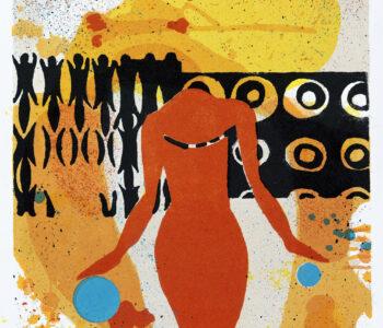 Konstnär Jan Wessel. Konstverk benämning JW2 'Acting', stenlitografi, 25,5x25,5 cm, upplaga 295. Våga Se - Konst