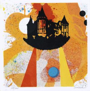 Konstnär Jan Wessel. Konstverk benämning JW3 'It´s a real story', stenlitografi, 25,5x25,5 cm, upplaga 295. Våga Se - Konst