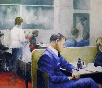 Konstnär Lars Eje Larsson. Konstverk benämning LEL2 'Blue suit', litografi, 24x37,5 cm. Våga Se - Konst