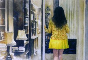 Konstnär Lars Eje Larsson. Konstverk benämning LEL4 'Yellow skirt', litografi 24x35,5 cm. Våga Se - Konst