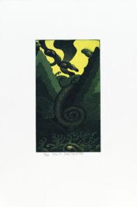 Konstnär Nils G Stenqvist. Konstverk benämning NGS3 'Utan titel 3', litografi, pappersmått: 39x27 cm, bildmått: 20x12 cm, upplaga 295. Våga Se - Konst