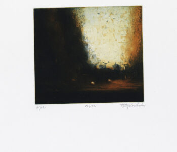 Konstnär Stephen Lawlor. Konstverk benämning SL2 'Rytm', litografi, pappersmått: 27x32,5 cm, bildmått: 15x19,5 cm, upplaga 295. Våga Se - Konst