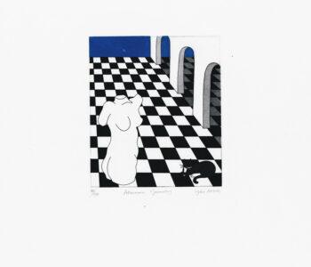 "Yoko Akino ""Afternoon geometry"", etsning, pappersmått: 34x40 cm, bildmått: 14x16 cm, upplaga 295"