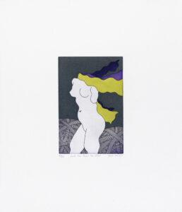 "Yoko Akino ""And she faced the blast"", etsning, pappersmått: 34x40 cm, bildmått: 12x18 cm, upplaga 295"