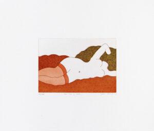 Yoko Akino 'The tea is cold', etsning, pappersmått: 40x34 cm, bildmått: 20x14 cm, upplaga 295