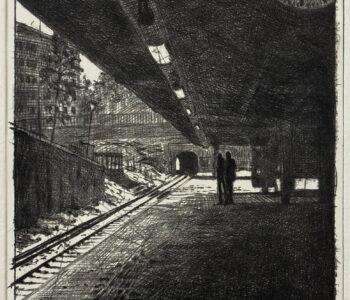 Mikael Kihlman. Benämning: MIK4 Metro, torrnål. Bildmått: 16x12,5 cm, pappersmått: 27x34 cm, upplaga 250. Hahnemühle 300 g. Verk till Våga Se - Konst 2021/2022.