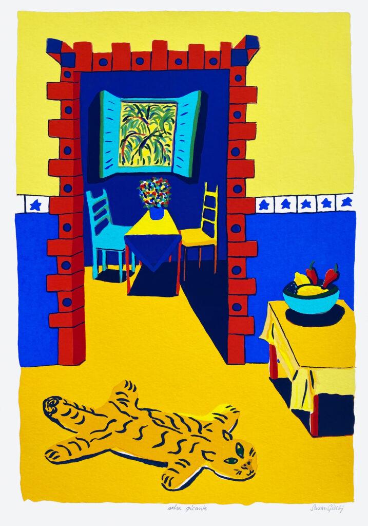 Välj verk av konstnären Susan Gillhög, Benämning: SG2, Salsa Picante Serigrafi, 50x35 cm, upplaga 250. Ingår i varje medlemskap i Våga Se - Konst.