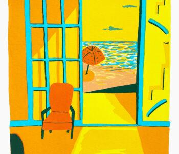 Välj verk av konstnären Susan Gillhög, Benämning: SG1, Stolskvaller. Serigrafi, 50x35 cm, upplaga 250. Ingår i varje medlemskap i Våga Se - Konst..