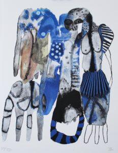 Konstnär Emma Larsson. Konstverk benämning EL2 'Farewell to the girl with sun in her eyes', litografi, 31 x 39 cm, upplaga 250 - Våga Se Konst