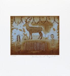 Konstnär Helmtrud Nyström. Konstverk benämning HN1 'Utan titel 1', torrnålsgravyr, pappersmått: 39x35 cm, bildmått: 20x25 cm, upplaga 295. Våga Se - Konst.