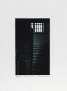 Konstnär Jukka Vänttinen. Konstverk benämning JUVÄ2 'Efter regnet', mezzotint, pappersmått: 26x36cm, upplaga 295. Våga Se - Konst
