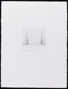 Konstnär Lars Nyberg. Konstverk benämning LANY1 'Utan titel 1', torrnålsgravyr, pappersmått: 25,5x34 cm, bildmått: 9x10 cm, upplaga 295. Våga Se - Konst