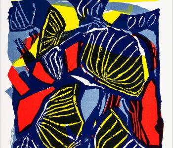 Konstnär Lis Gram. Benämning LIGR2 'Fabeldjur 2', litografi, 29×38 cm, upplaga 295 - Våga Se - Konst