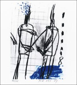 Konstnär Per Just. Konstverk benämning PEJU3 'Samtal 3', litografi, 21×25 cm, upplaga 295. Våga Se - Konst