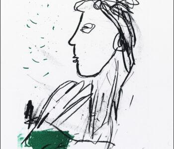 Konstnär Per Just. Konstverk benämning PEJU4 'Samtal 4', litografi, 21×25 cm, upplaga 295. Våga Se - Konst