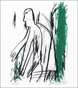 Konstnär Per Just. Konstverk benämning PEJU2 'Samtal 2', litografi, 21×25 cm, upplaga 295. Våga Se - Konst