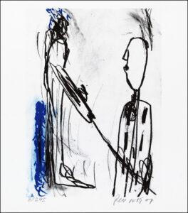 Konstnär Per Just. Konstverk benämning PEJU6 'Samtal 6', litografi, 21×25 cm, upplaga 295. Våga Se - Konst