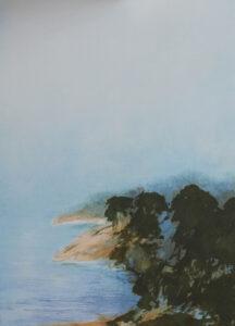 Konstnär Anders Hugo. Konstverk benämning AHU 6 'Vid Träsköfjärden' litografi, pappersmått 42,7x32,2 cm, bildmått 28x38,7 cm, upplaga 295. Våga Se - Konst