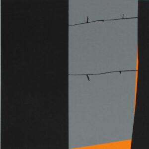 Konstnär Håkan Berg. Konstverk benämning HB5 'Utan titel 5', serigrafi, pappersmått: 45x39cm, bildmått: 24x24 cm, upplaga 295. Våga Se - Konst